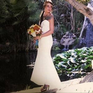 Jasmine  Italian Satin Hi Low Wedding Dress 1/2